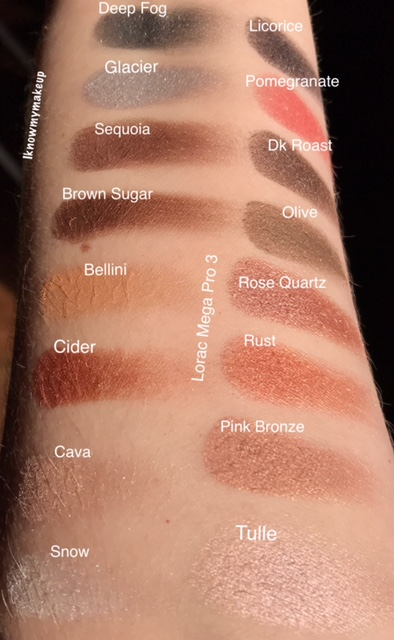 LORAC Mega Pro 3 shimmer swatches