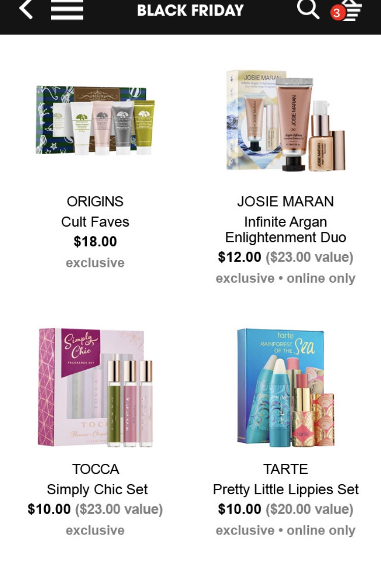 sephora-black-friday-origins-tarte-josie-maran
